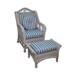 Victorian Style White Wicker Lounge Chair with Ottoman