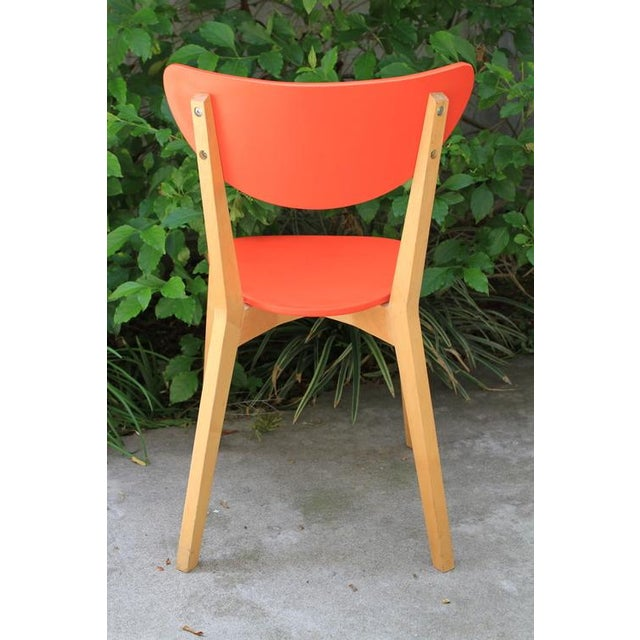 Mid Century Tangerine Chairs - Set of 3 - Image 5 of 8
