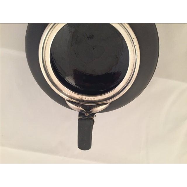Image of Wedgwood Sterling Silver & Black Basalt Teapot