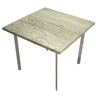 Mies Van Der Rohe Style Travertine Side Table
