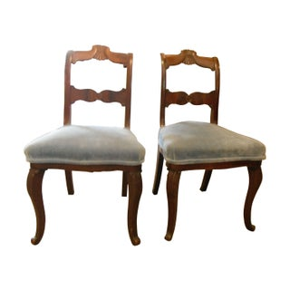Antique Carved Mahogany Chairs - A Pair