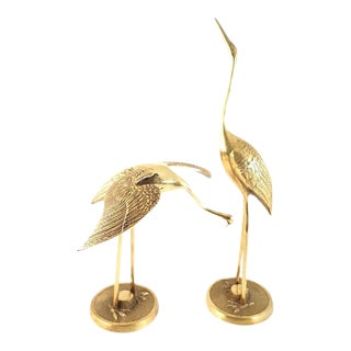 Hollywood Regency Brass Crane Figurines - Pair