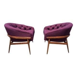 Milo Baughman Tufted Bucket Chairs - A Pair