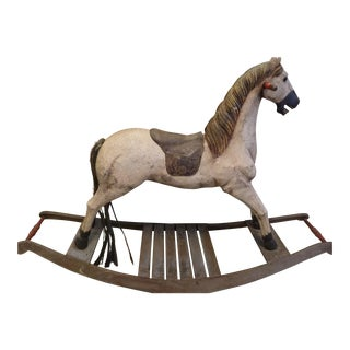 Vintage Reproduction Folk Art Wooden Rocking Horse
