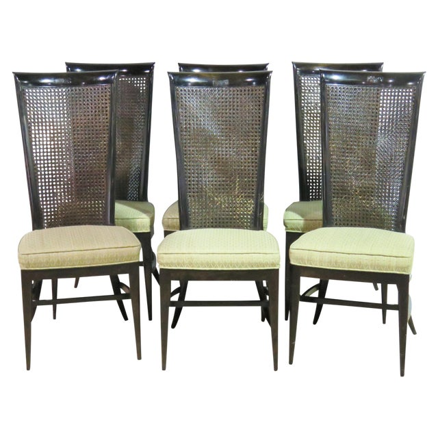 Image of 6 Harvey Probber Ebonized Caned Back Dining Chairs