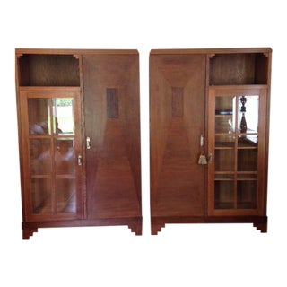 Arts & Crafts French Oak Libraries - A Pair