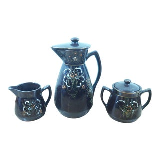 Porcelain Hand Painted Coffee Pitcher Creamer & Sugar Bowl - Set of 3