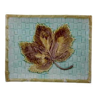 Antique Continental Majolica Basketweave Leaf Tray