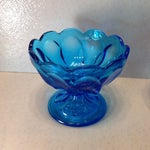 Image of Vintage Blue Glass Pedestal Bowls - A Pair