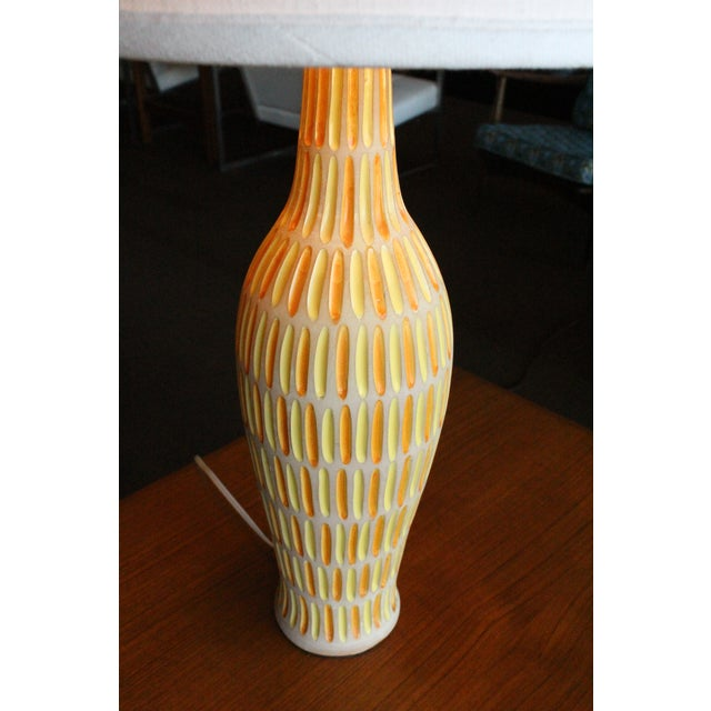 Image of Raymor Italian Incised Pottery Lamp