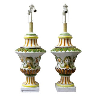 Italian Maiolica Table Lamps - A Pair