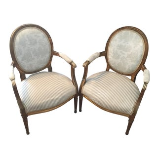 French Louis XVI Style Distressed Arm Chairs - a Pair