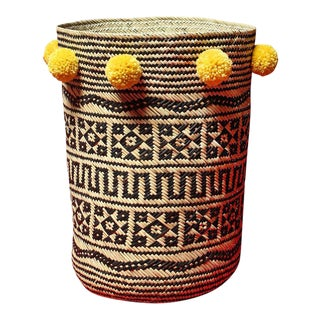 Borneo Drum Tribal Straw Basket with Turmeric Yellow Pom-poms