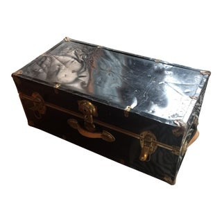 Vintage Black Trunk With Metal