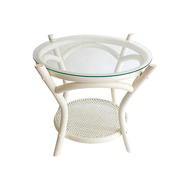 Image of White Cane & Bamboo Glass Top Side Table