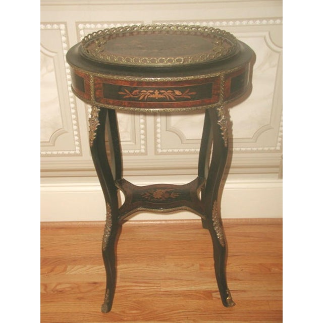 Inlaid italian table 19th c bronze mounts storage chairish for Table th width