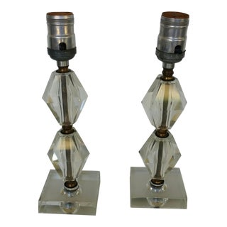 Vintage Art Deco Glass Boudoir Lamps - A Pair