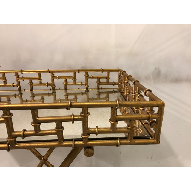 Gilt Metal Faux Bamboo Butler's Tray Table - Image 3 of 5