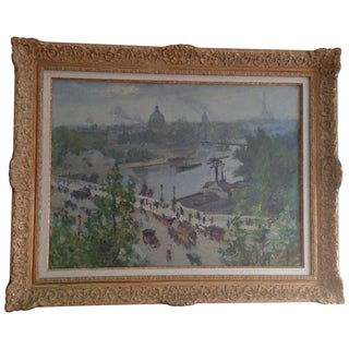 Impressionist Paris View French Oil Painting by Biloul: Seine Steamboats