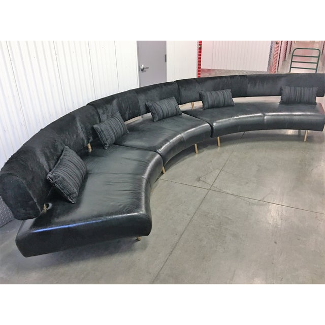 3-Pc Black Faux Cowhide Sectional Sofa - Image 2 of 11