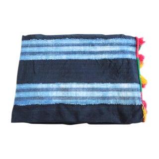 Vintage African Indigo Striped Throw Blanket