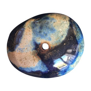 Indigo Glazed Studio Pottery Moon Pot Vase