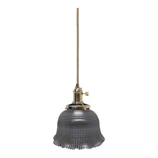 Cross Hatch Holophane Glass Shade Pendant Light