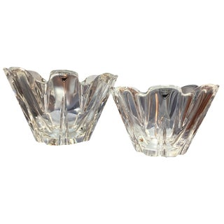 Orrefors Contemporary Style Crystal Bowls - A Pair