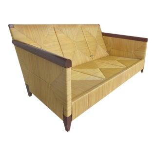 John Hutton for Donghia Wicker Reed and Mahogany Merbau Collection Sofa