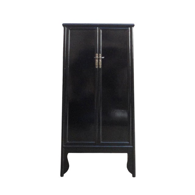 Image of Chinese Oriental Black Lacquer Armoire