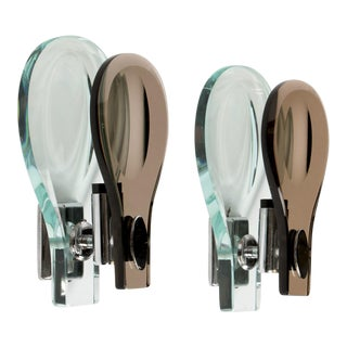 Italian Glass Sconces by Max Ingrand for Fontana Arte - a Pair