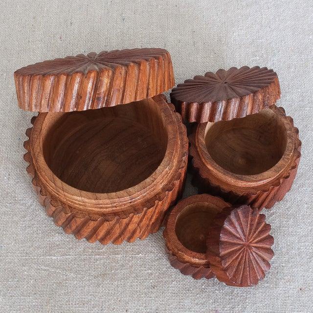 Hand Carved Indian Sheesham Nesting Boxes - 3 - Image 3 of 6