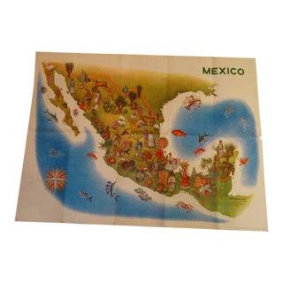 Luis Covarrubias Vintage Mexico Map Poster