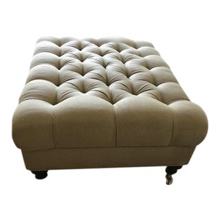 Beige Covered, Tufted Ottoman
