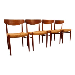 Mobler Style Mid-Century Danish Modern Teak & Rush Dining Chairs- Set of 4