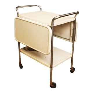 Cosco Mid Century Modern White Drop Leaf Side 3 Tea Cart