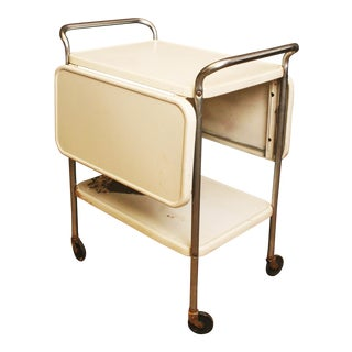 Cosco Mid Century Modern White Drop Leaf Side 3 Tea Cart