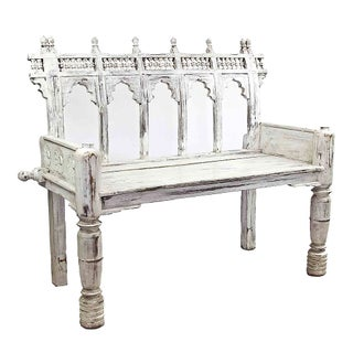 Vintage White Provincial Pony Bench