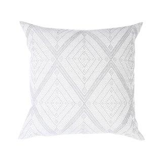 Large Gray Diamond Handwoven Pillow