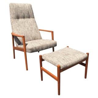 Danish Mid Century Modern Lounge Chair & Ottoman