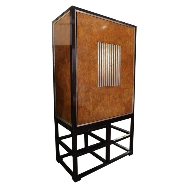 Image of Tall Asian Modern Burl Wood Armoire