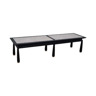 James Mont Mid Century Ebonized Marble Top Table