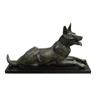 Monumental French Art Deco Bronze Sculpture of Dogs Circa 1940s.