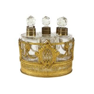 5 Piece Continental Crystal Glass & Gilt Bronze Perfume Vanity Set & Bronze Caddy, Circa 1900