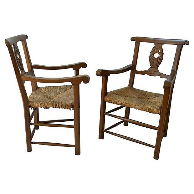 Image of Carved-Back Swan Chair - Pair
