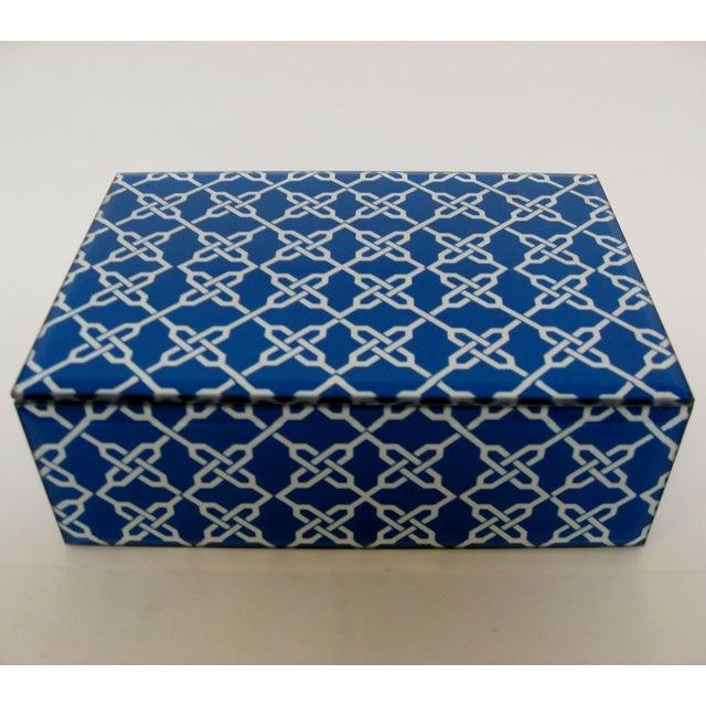 Blue & White Fabric & Glass Box - Image 2 of 5