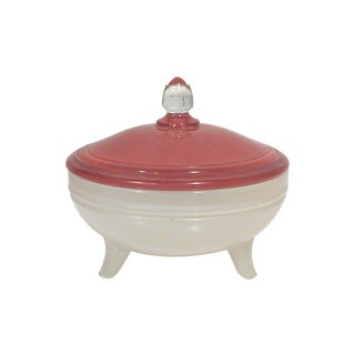 Antique Art Deco Red & White Lidded Dish