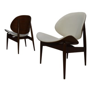 Kodawood Bent Walnut & Leather Lounge Chairs - A Pair