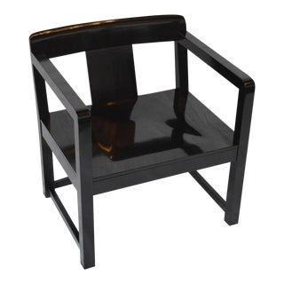 Chinese Ming Modern Black Lacquered Armchair