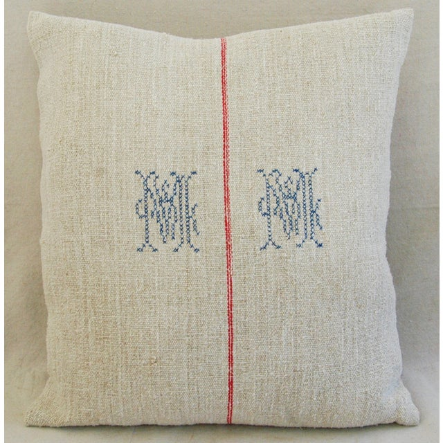 1940s French Grain Sack Textile Pillow - Image 3 of 7